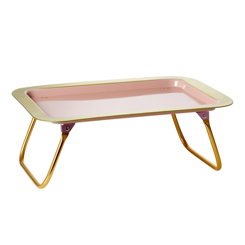 Vassoio da letto color corallo con bordi dorati - Letto richiudibile ...