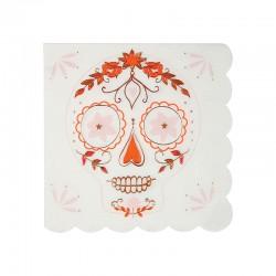 Tovagliolini di carta con fantasia teschio floreale