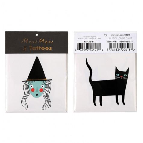 Tatuaggi di Halloween, strega e gattino nero