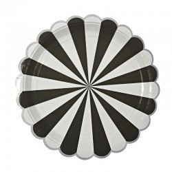 Piatti di carta a righe nere