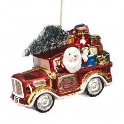 Decorazione natalizia - Babbo Natale in auto