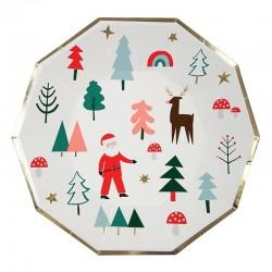 Piatti di carta con iconcine natalizie