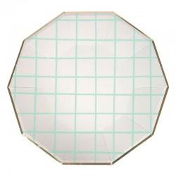 Piatti di carta a quadretti color menta