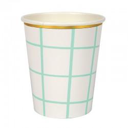 Bicchieri di carta a quadretti color menta