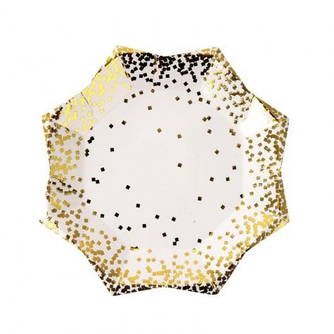 Piattini di carta a stella con fantasia coriandoli