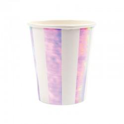 Bicchieri di carta a righe iridescenti
