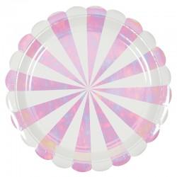Piatti di carta a righe iridescenti