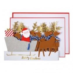 Biglietto di auguri Babbo Natale sulla slitta