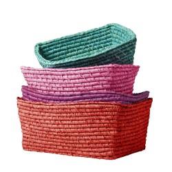 Cesti colorati portaoggetti in rafia