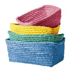 Contenitori colorati in rafia