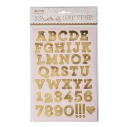 Stickers dorati a forma di lettere e numeri