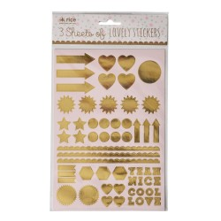 Stickers dorati, simboli e forme