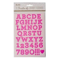 Stickers fucsia a forma di lettere e numeri