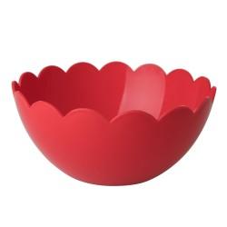 Insalatiera rossa con bordo smerlato