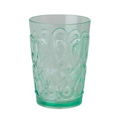 Bicchiere verde con decorazione in rilievo