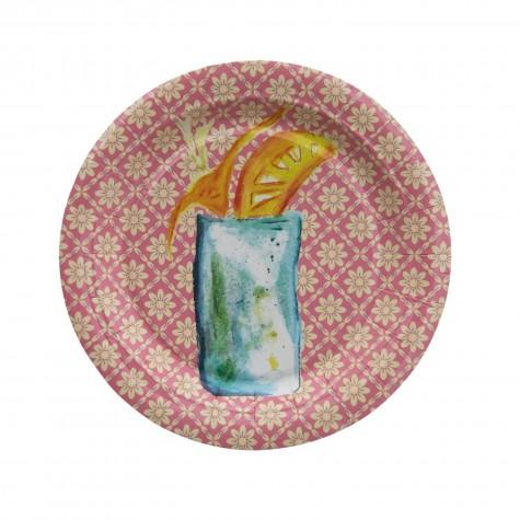 Piattini di carta rosa con fantasia cocktail