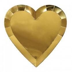 Piatti grandi a forma di cuore dorato
