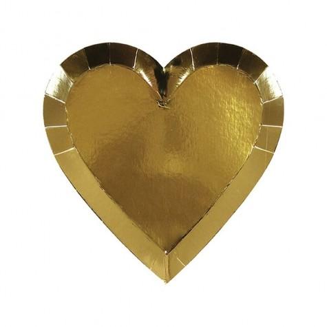 Piattini a forma di cuore dorato