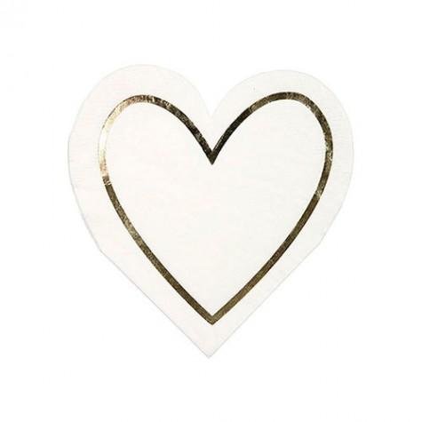 Tovaglioli a forma di cuore con contorno dorato