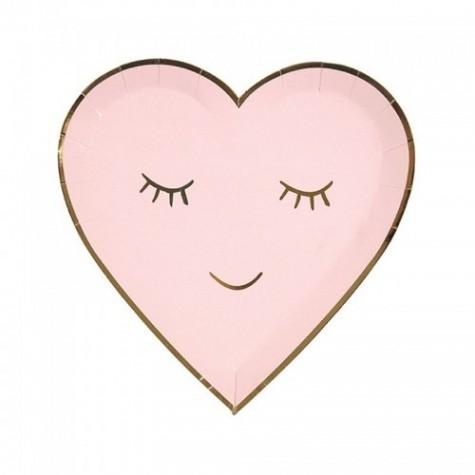 Piatti a forma di cuore rosa