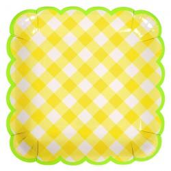 Piatti di carta a quadretti gialli