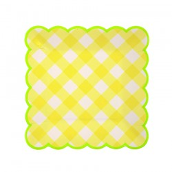 Piattini di carta a quadretti gialli