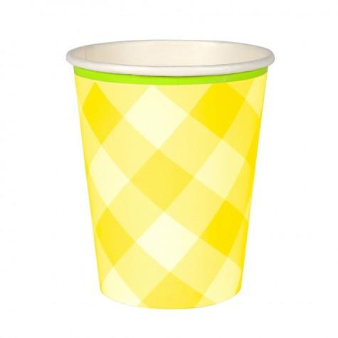 Bicchieri di carta a quadretti gialli