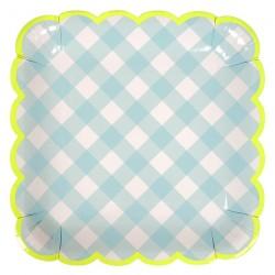 Piatti di carta a quadretti azzurri