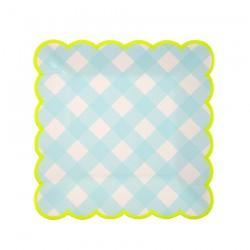 Piattini di carta a quadretti azzurri