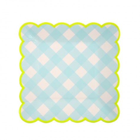 Piattini di plastica a quadretti azzurri