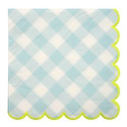 Tovaglioli di carta a quadretti azzurri