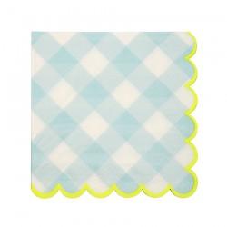 Tovagliolini di carta a quadretti azzurri