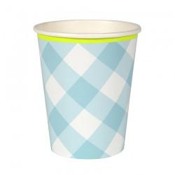 Bicchieri di carta a quadretti azzurri