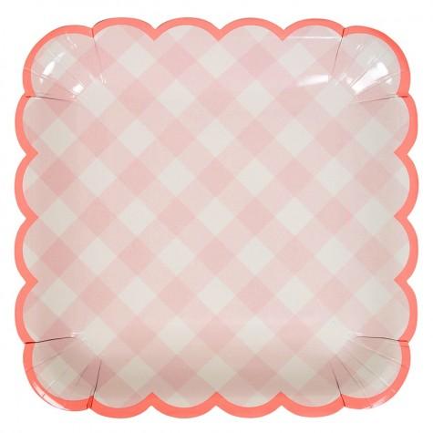Piatti di carta a quadretti rosa