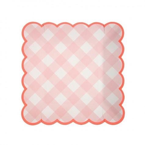 Piattini di carta a quadretti rosa