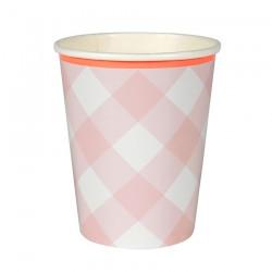 Bicchieri di carta a quadretti rosa