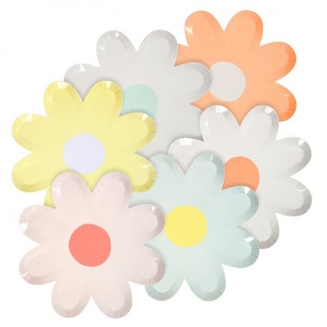 Piattini di carta a forma di margherite colorate