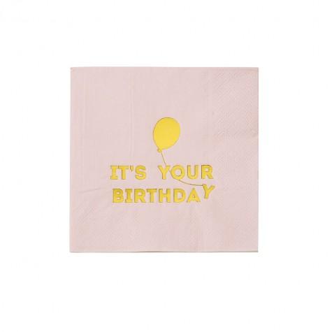 Tovagliolini rosa Happy Birthday