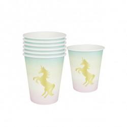 Bicchieri di carta con stampa dorata Unicorno