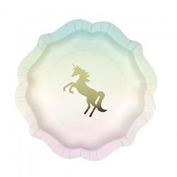Piatti di carta con stampa Unicorno