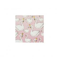 Tovaglioli di carta rosa con fantasia cigni