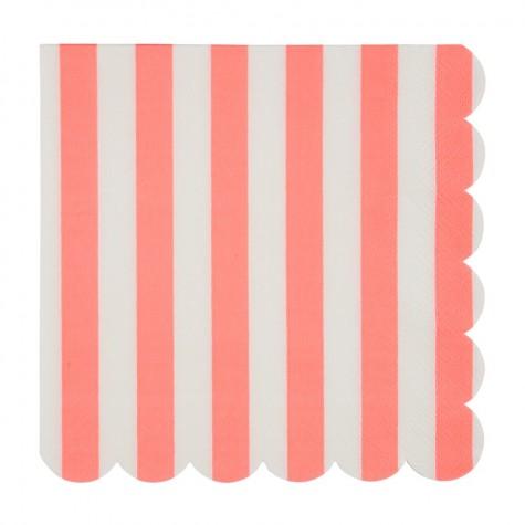 Tovaglioli di carta a righe rosa corallo