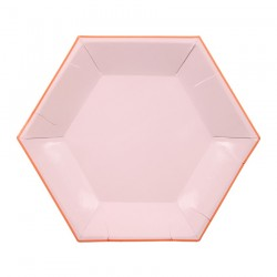 Hexagonal pink small plates