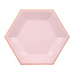 Piattini di carta esagonali rosa