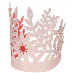 Coroncine glitterate con design floreale