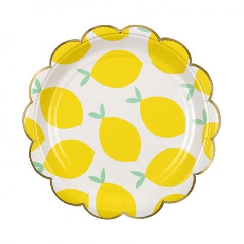 Piattini di carta con fantasia limoni