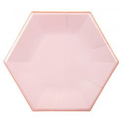 Piatti di carta rosa esagonali
