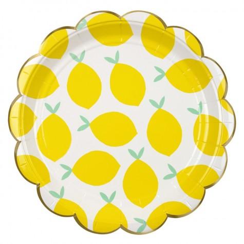 Piatti per party con fantasia limoni e bordo dorato