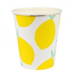 Bicchieri di carta con fantasia limoni