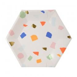 Piattini di carta colorati esagonali